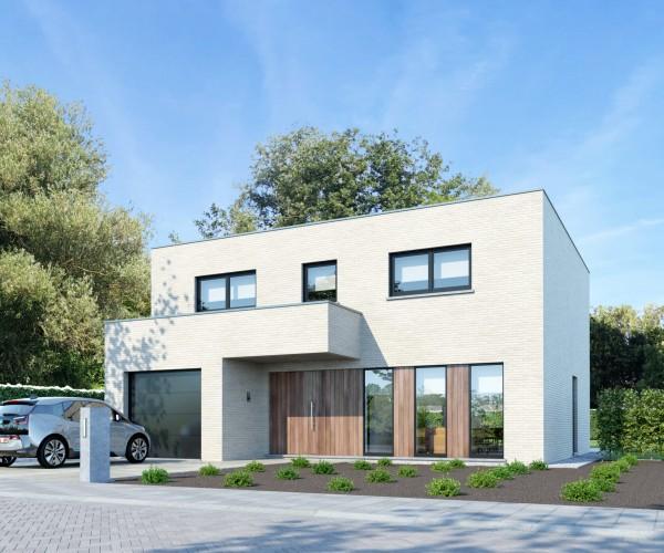 Foto Moderne gezinswoning met plat dak te Booischot